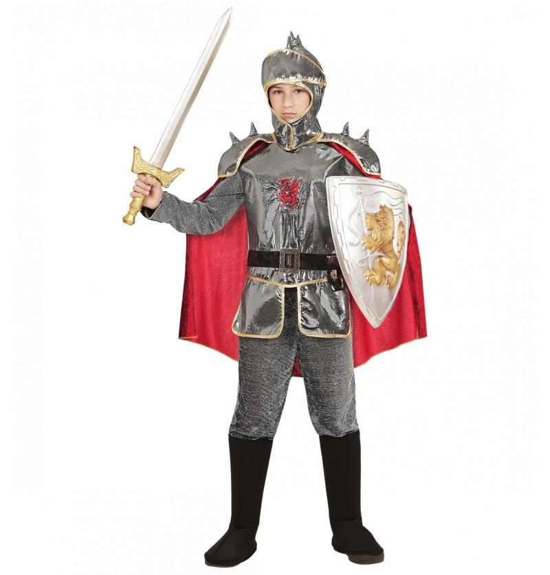 Disfraz de caballero medieval plateado para niño