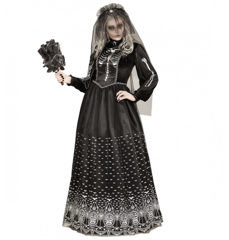 Disfraz de novia esqueleto de la oscuridad para mujer