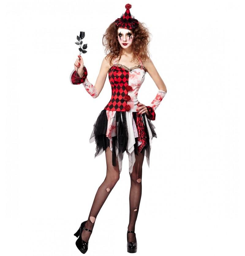 Disfraz de arlequina del horror para mujer