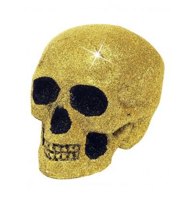 calavera decorativa con purpurina dorada