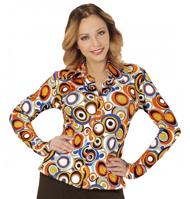 Camisa retro burbujas de los años 70 para mujer