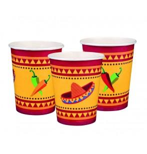 set de 6 vasos para fiesta mejicana