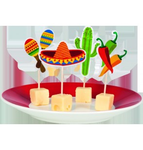 set de 12 palillos variados para fiesta mejicana