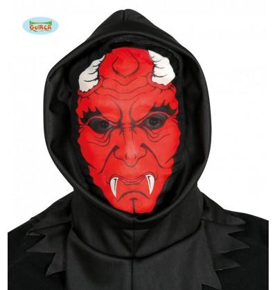 Máscara de demonio aterrador de spandex con capucha para adulto