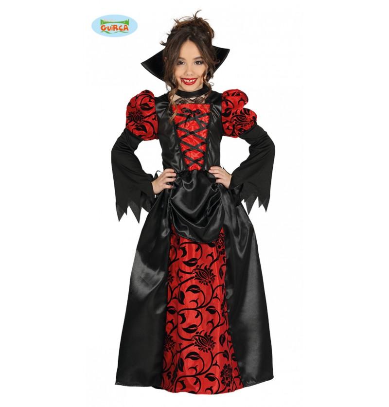 Disfraz de vampiresa gótica roja y negra para niña