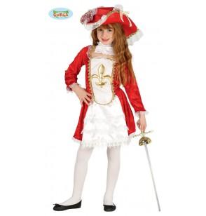Disfraz de mosquetera roja para niña