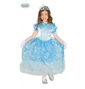 Disfraz de princesa azul de cristal para niña