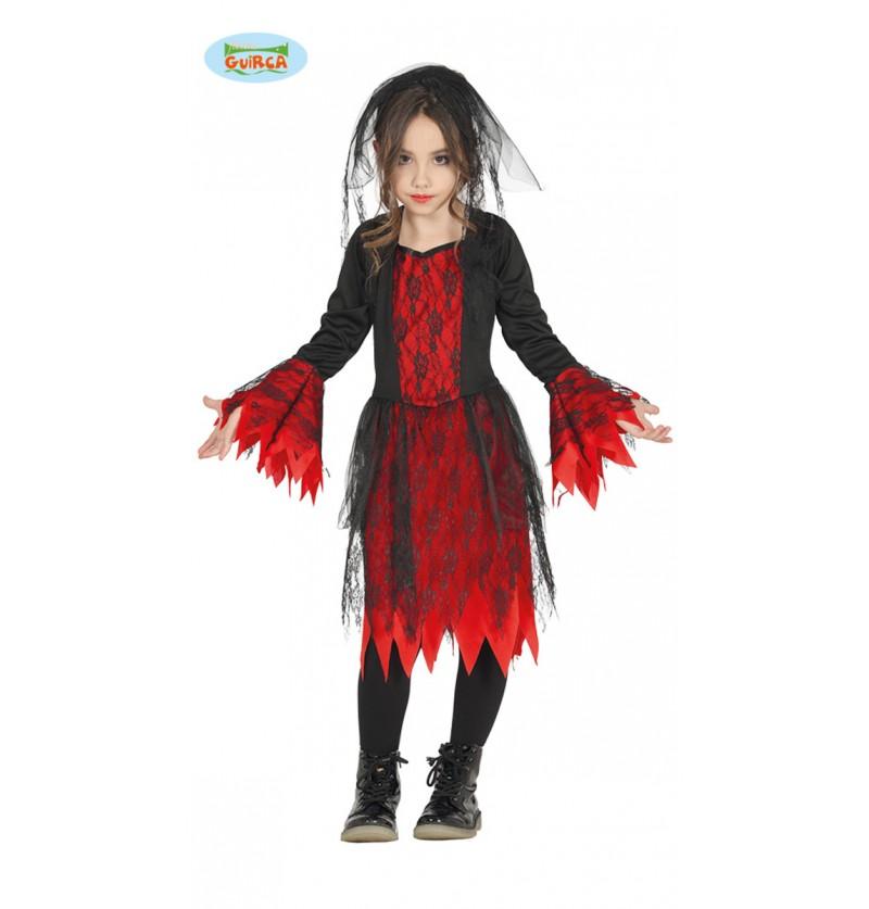 Disfraz de novia gótica roja y negra para niña