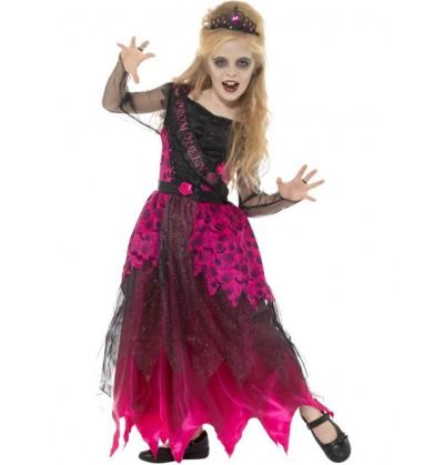 Disfraz de reina del baile gótica para niña