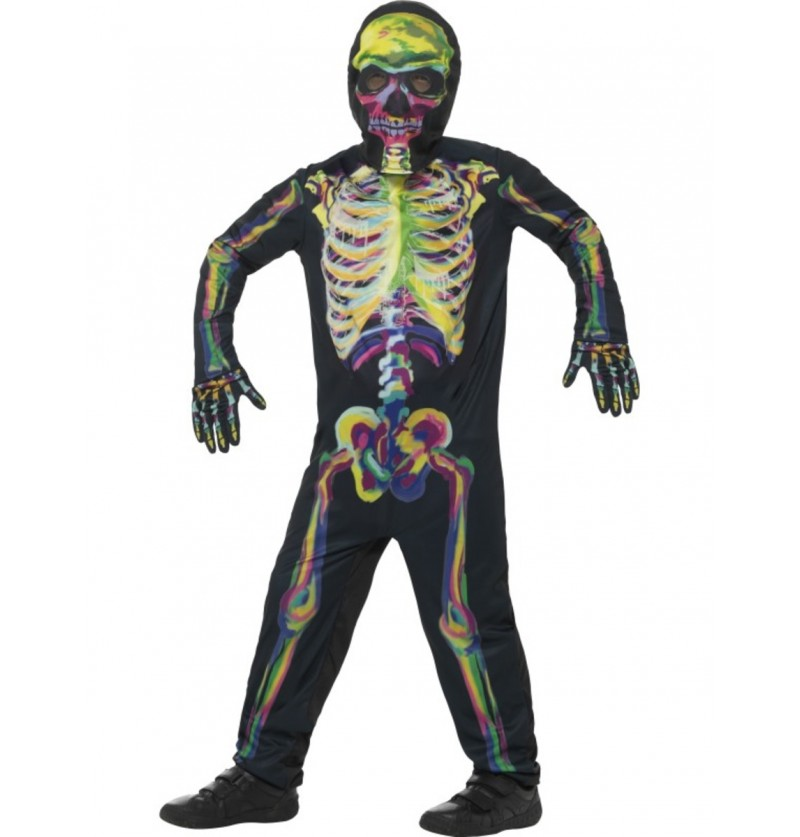 Disfraz de esqueleto multicolor fluorescente infantil