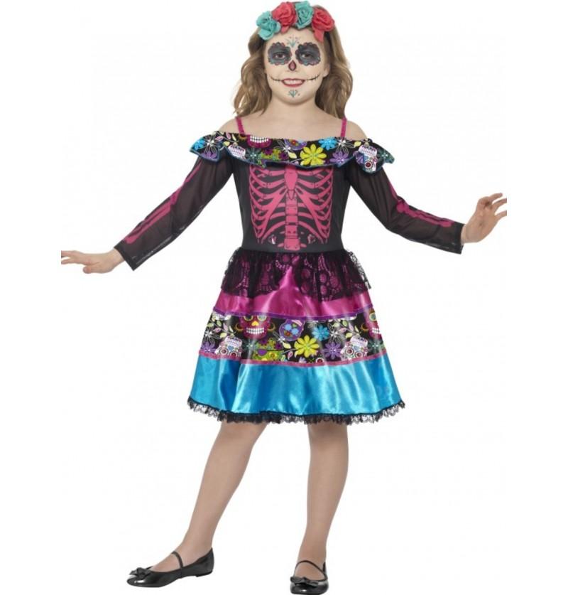 Disfraz de Novia día de los muertos elegante para niña