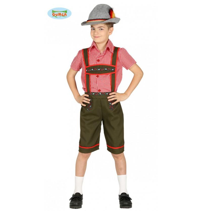 Disfraz de tirolés verde para niño