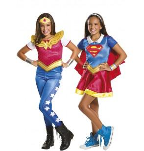 disfraz de supergirl y wonder woman dc superhero girls para nia