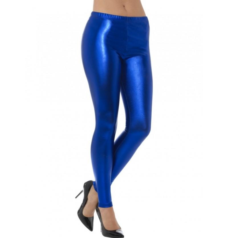 Leggings azules metalizadas para mujer