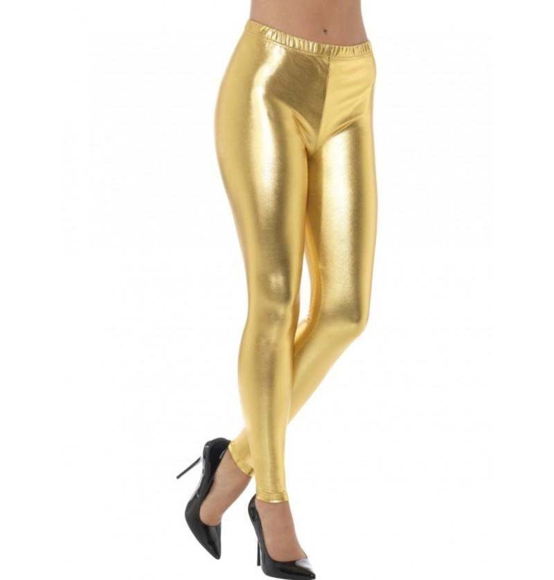 Leggings doradas metalizadas para mujer