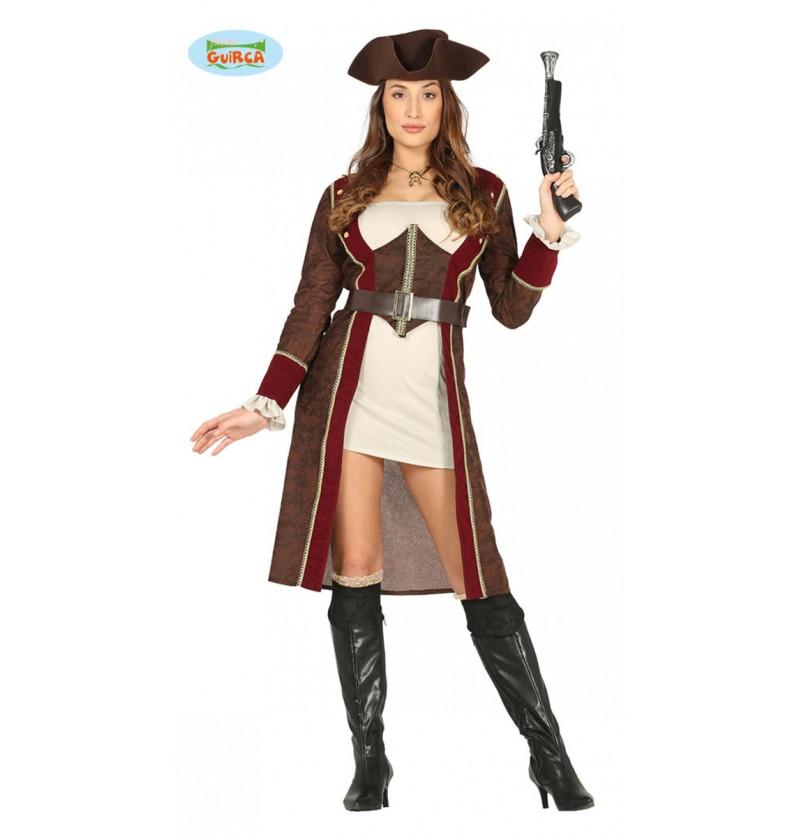 Disfraz de pirata con gabardina para mujer