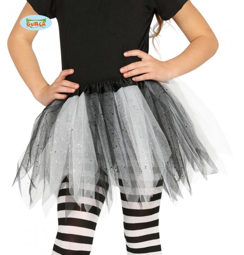 Tutú blanco y negro con brillantina para niña