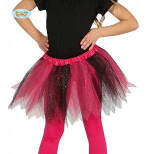 Tutú rosa y negro con brillantina para niña