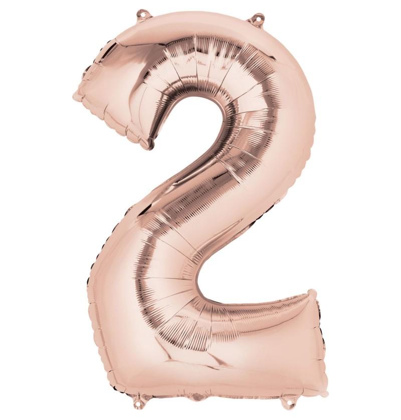 Globo número 2 oro rosa de 40 cm