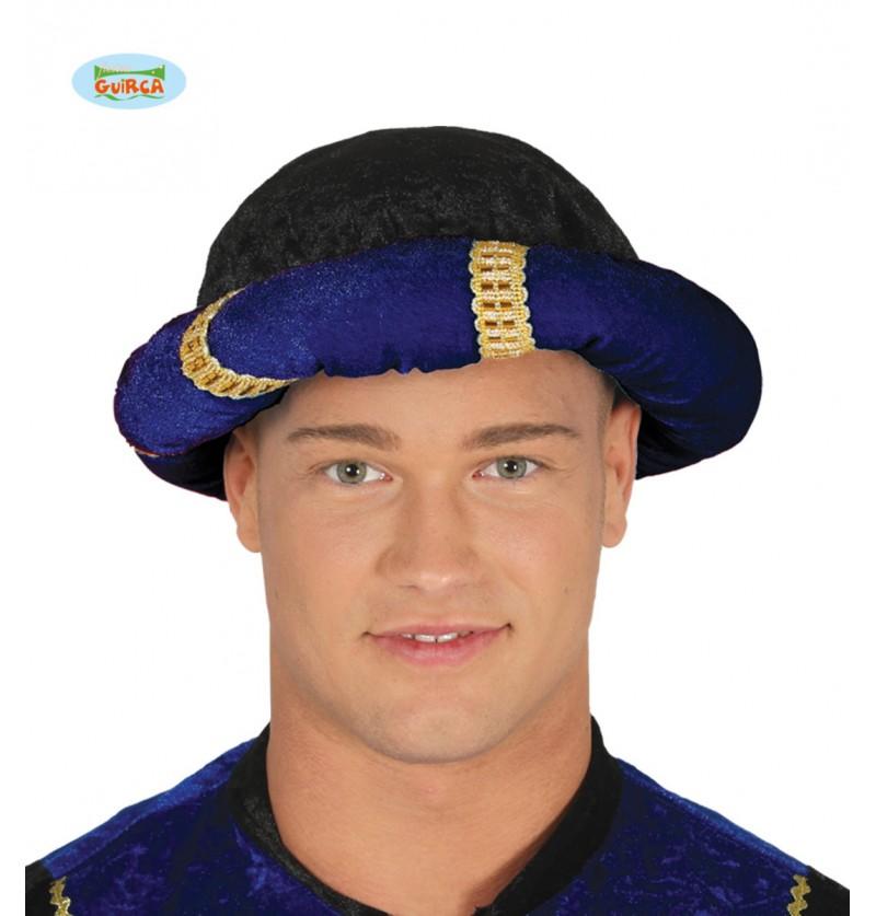 Turbante de paje azul para adulto