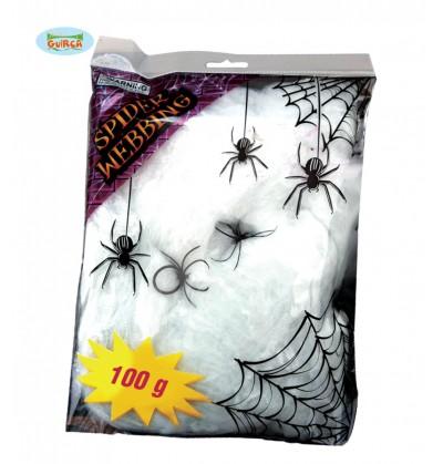 Telaraña blanca con arañas decorativas