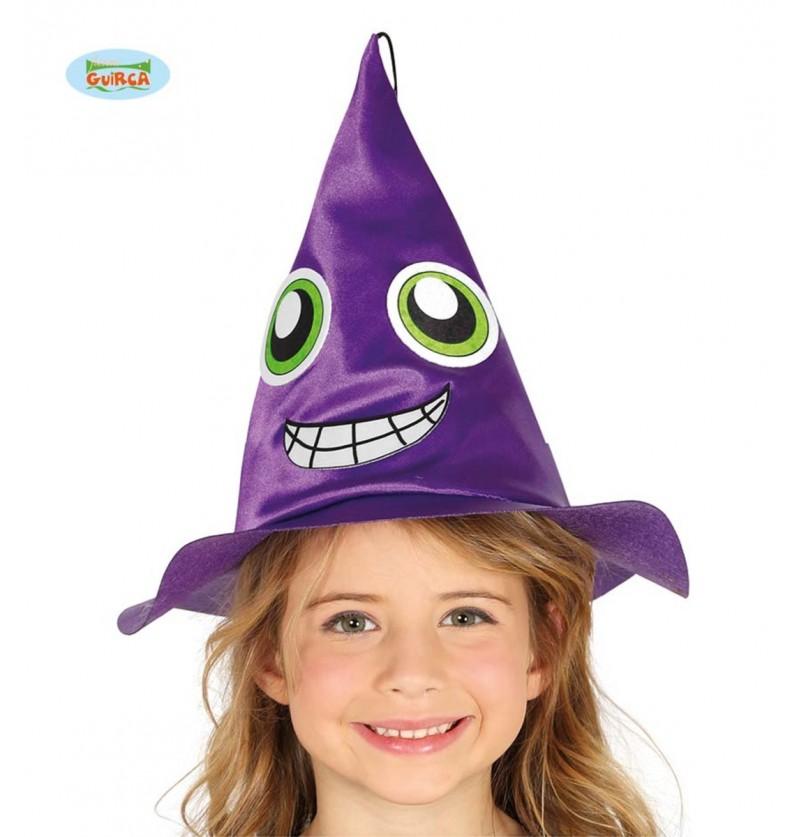 Sombrero de bruja morado con cara infantil