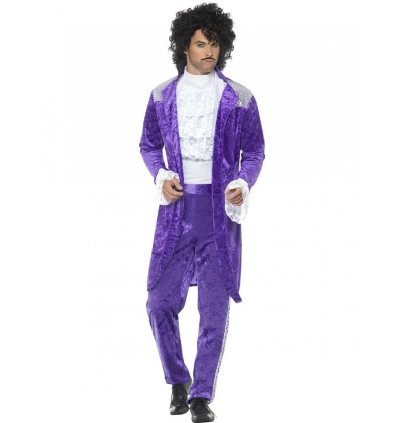 Disfraz de músico ochentero Purple para hombre
