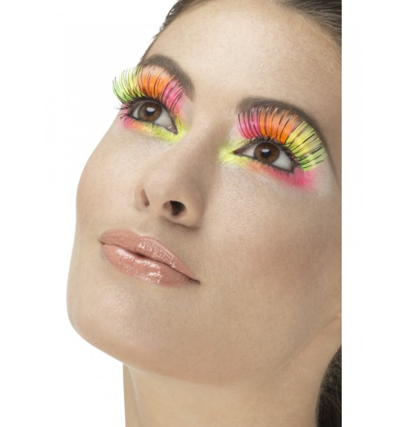 Pestañas neón multicolor para mujer