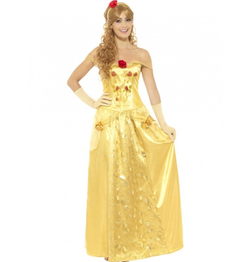 Disfraz de bella princesa dorada para mujer