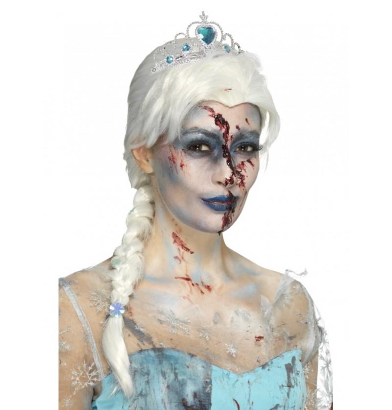 Peluca de princesa del hielo zombie para mujer