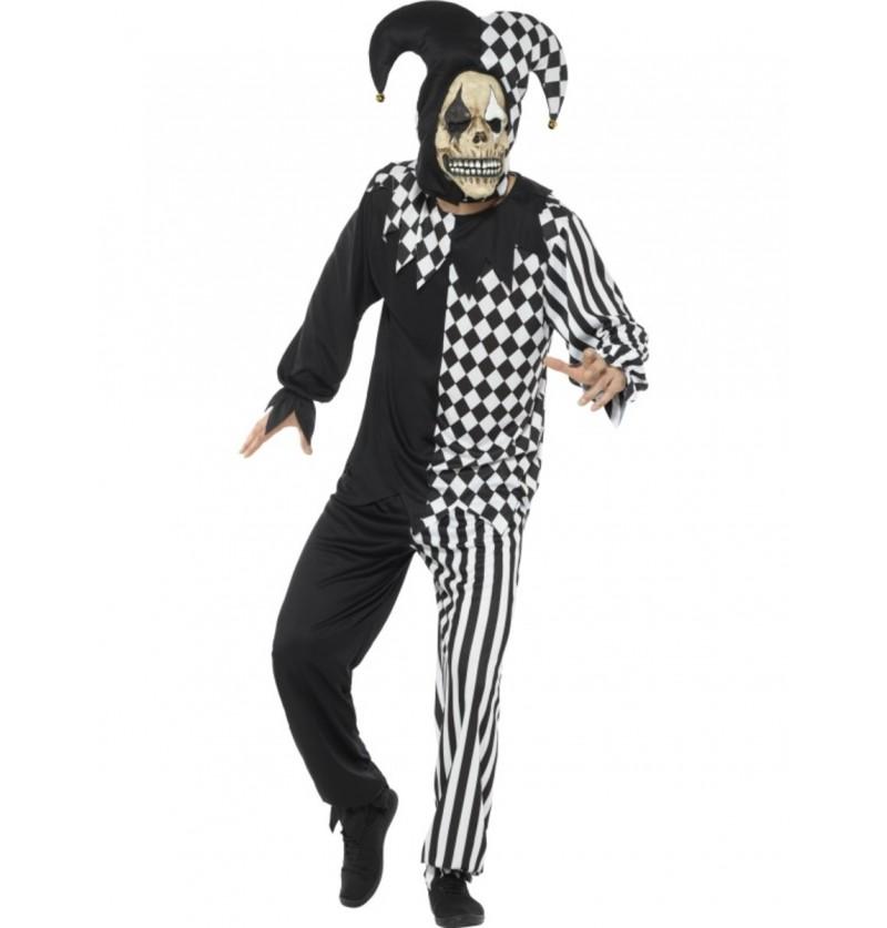 Disfraz de arlequín perturbador negro y blanco para adulto