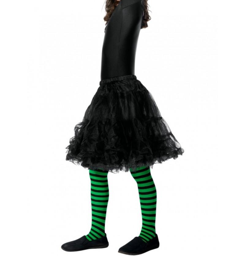 Pantys de bruja verdes y negros para niña