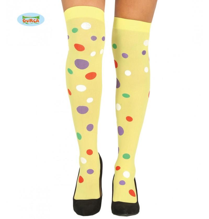 Medias de payaso amarillas con topos multicolor para mujer