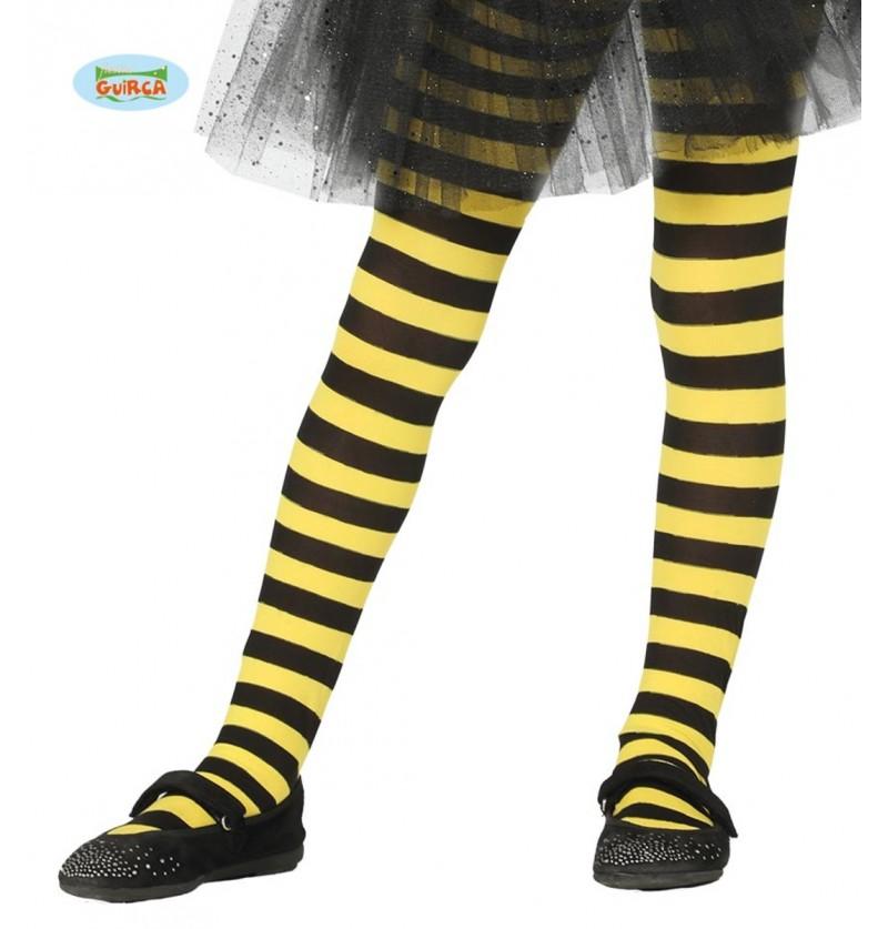 Pantys de bruja de rayas negras y amarillas para niña