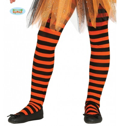 Pantys de bruja de rayas negras y naranjas para niña