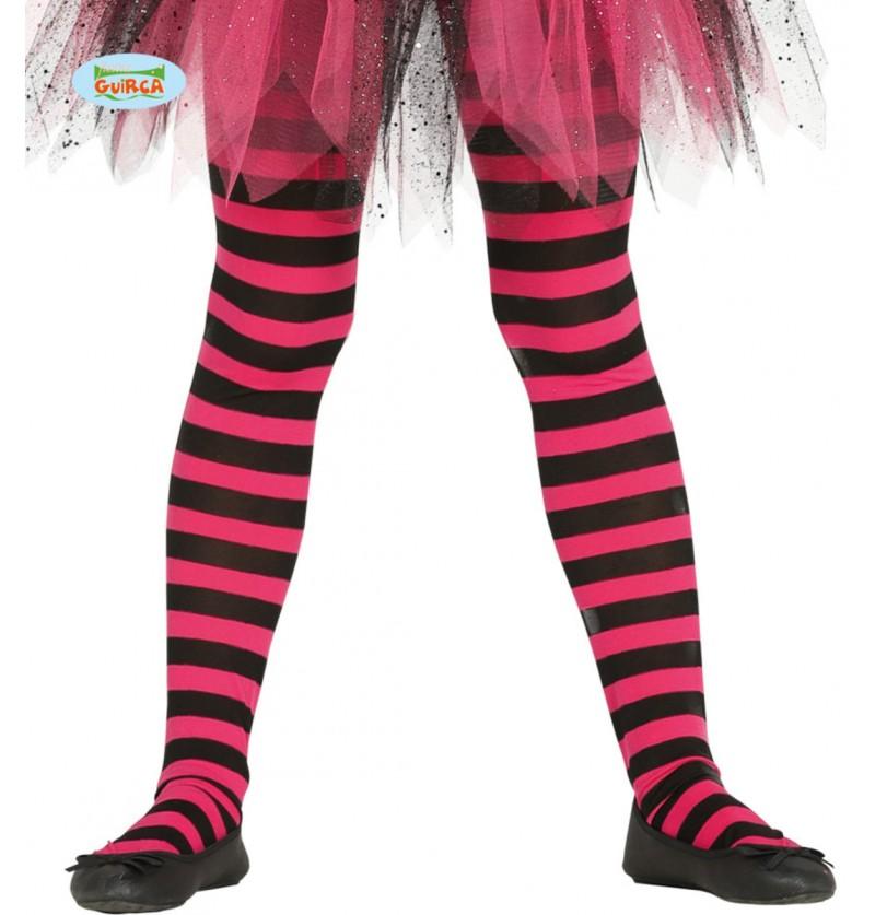 Pantys de bruja de rayas negras y rosas para niña