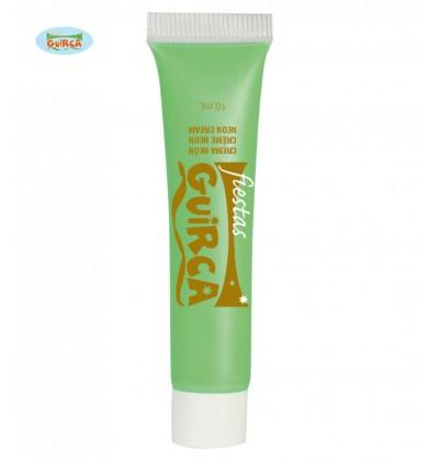 Maquillaje verde neón en crema tubo 10 ml