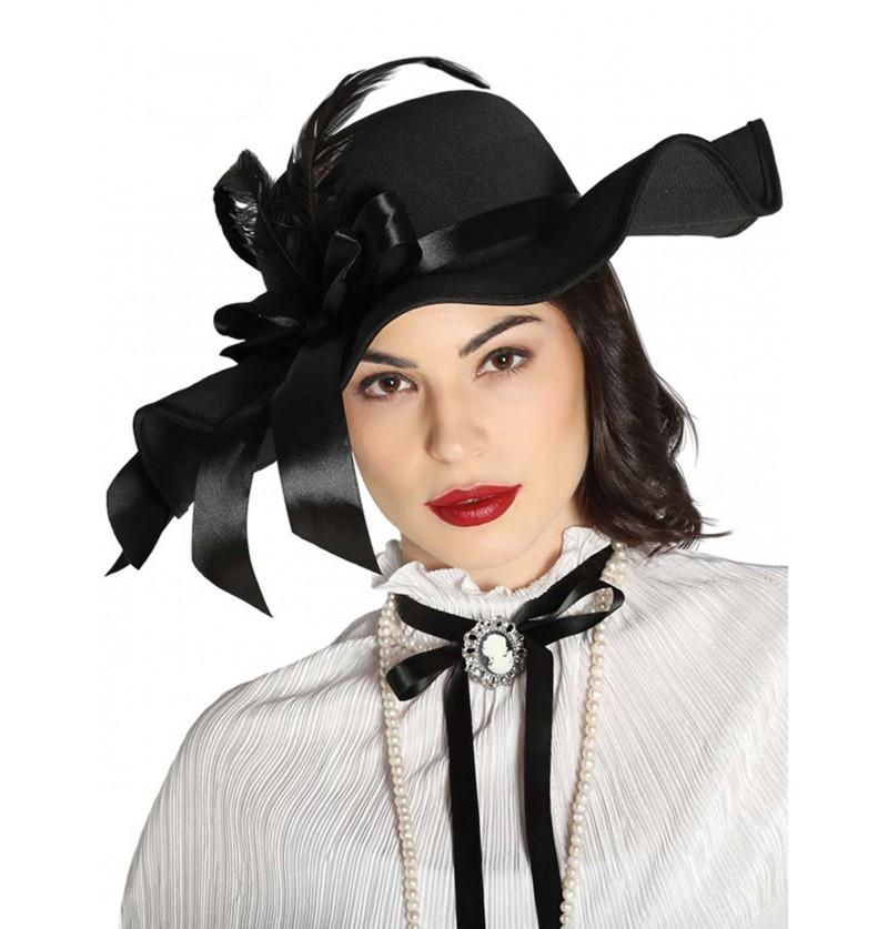 sombrero victoriano con plumas negro para mujer