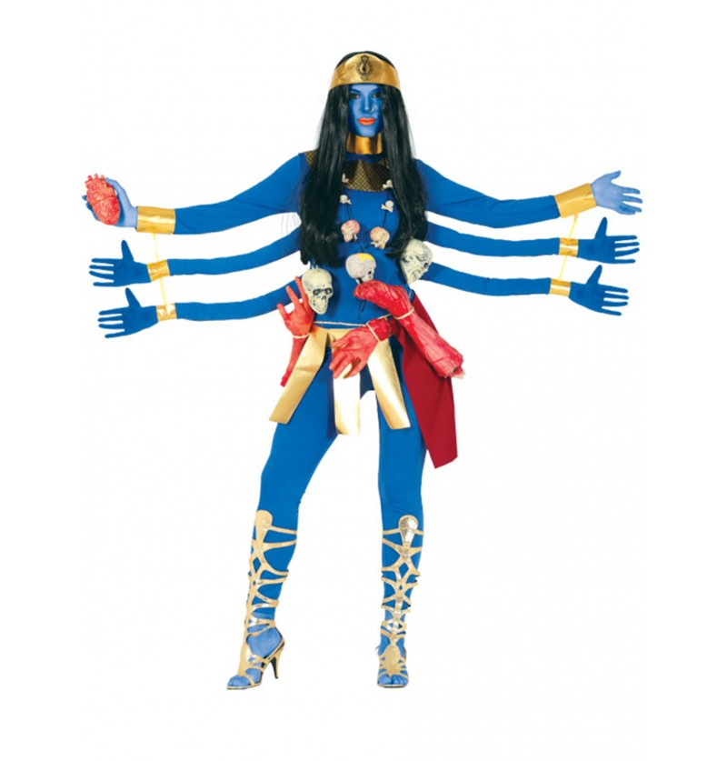 disfraz de diosa azul con 6 brazos para mujer
