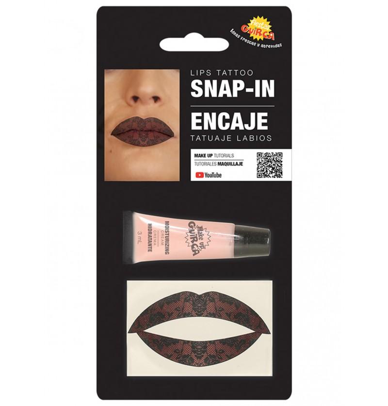 tatuaje de encaje para labios para adulto