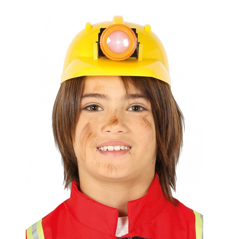 casco de minero amarillo infantil