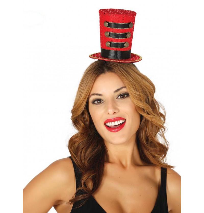 sombrero pequeo de majorette rojo para mujer