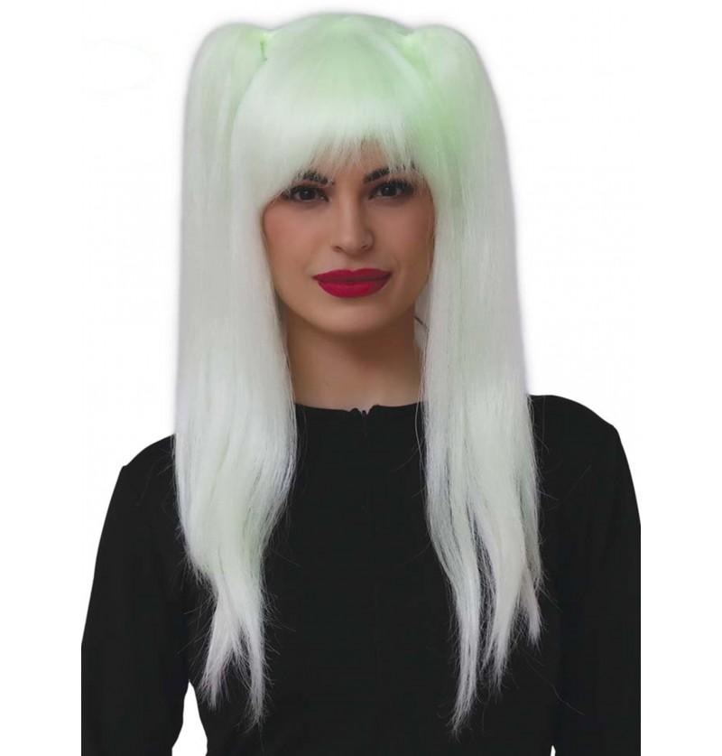 peluca de bruja fluorescente con trenzas para mujer