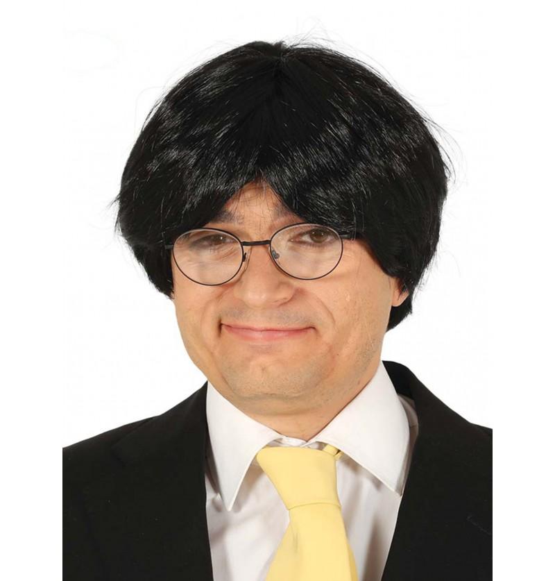 peluca negra de poltico para hombre