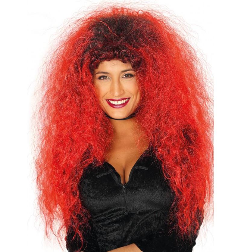 peluca de melena roja y negra para mujer