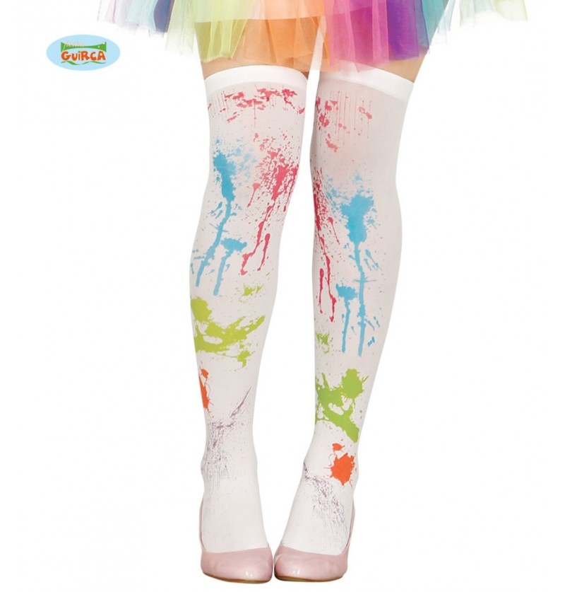 calcetines blancos con pintura para mujer
