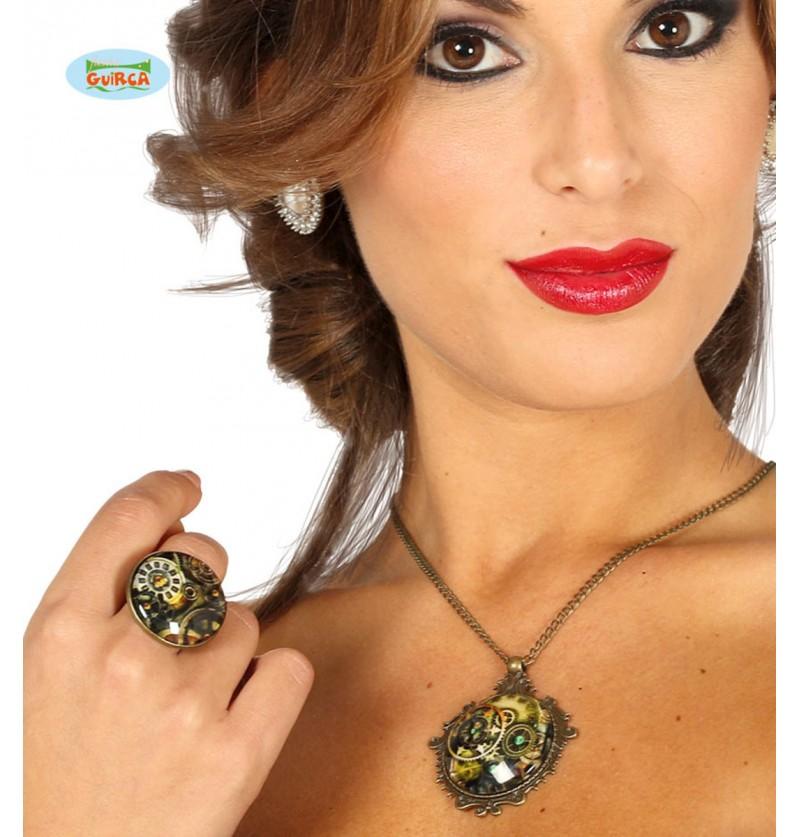 Kit anillo y collar steampunk para mujer