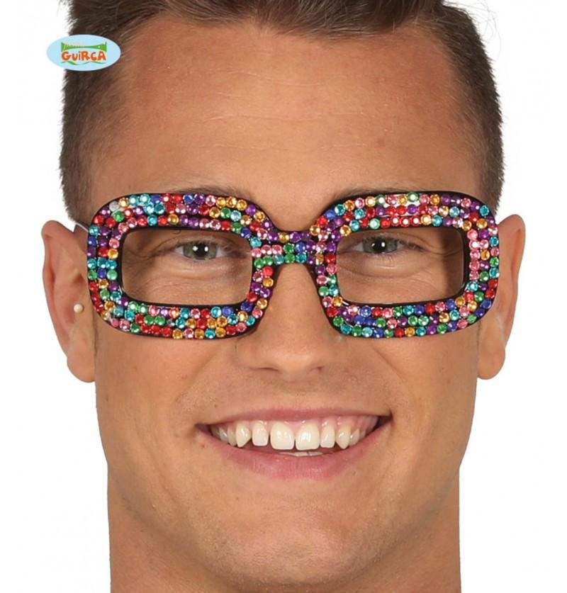 Gafas hippies multicolor con brillantes incrustados