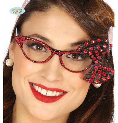 Gafas con brillantes y lazo rojos para mujer