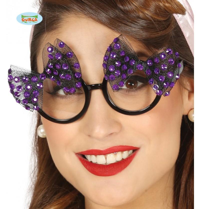 Gafas con dos lazos morados para mujer